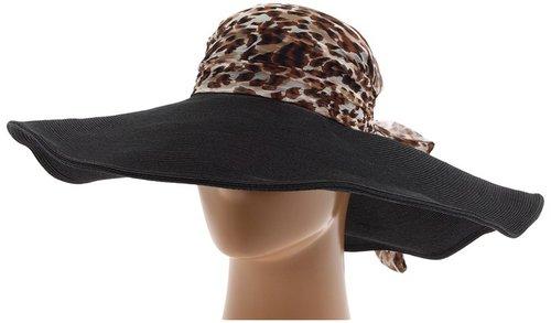 San Diego Hat Company - FBL1002 Scarf Top Floppy Sun Hat (Black) - Hats