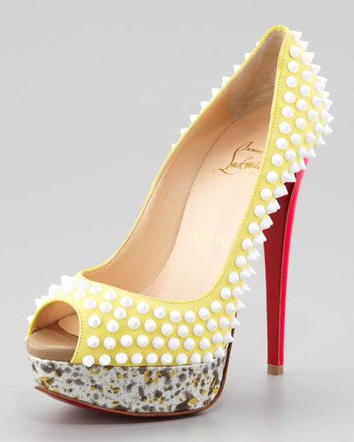 Christian Louboutin Lady Peep Spike Red Sole Pump, Canary