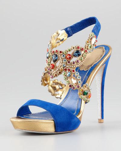 Rene Caovilla Jeweled Ankle-Wrap Platform Sandal