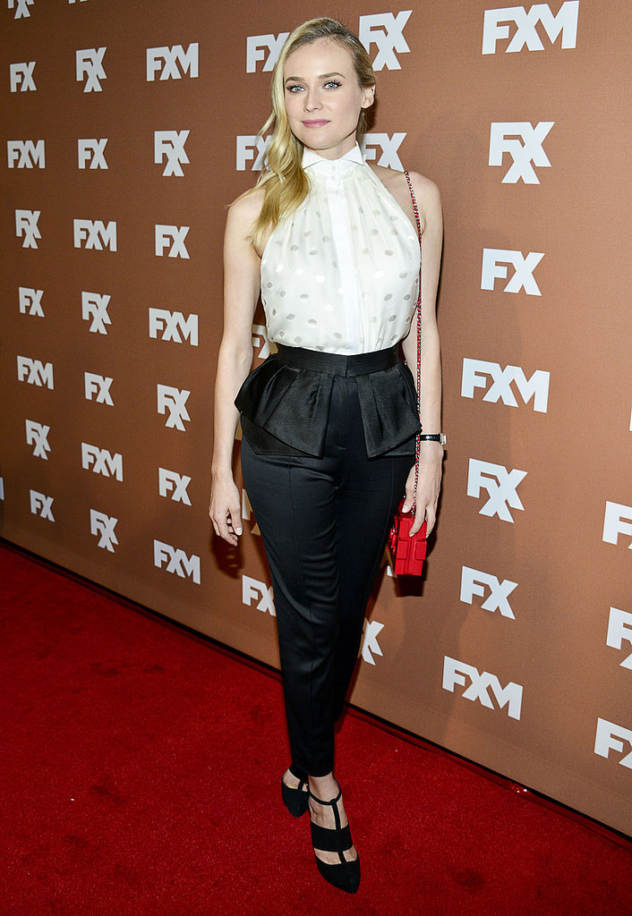 Diane Kruger wore a black and white outfit.
