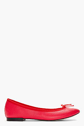 REPETTO Red Leather Cendrillon Ballerina Flats