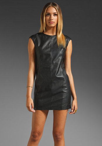 RVN Zipper Faux Leather Mini Dress