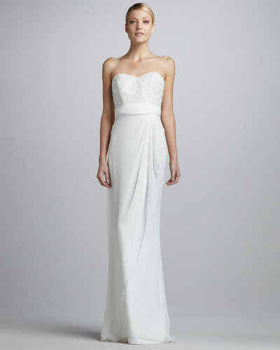 Badgley Mischka Strapless Beaded Silk Sweetheart Gown