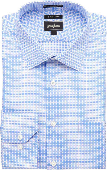 Neiman Marcus Trim-Fit Check Dress Shirt, Blue