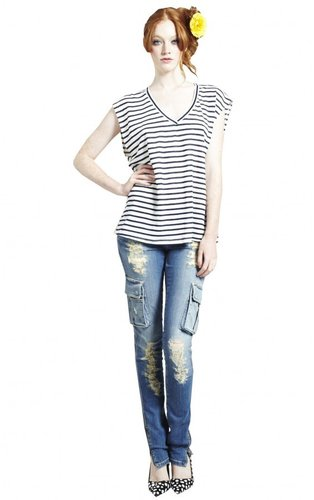 Distresssed Skinny Cargo Jean