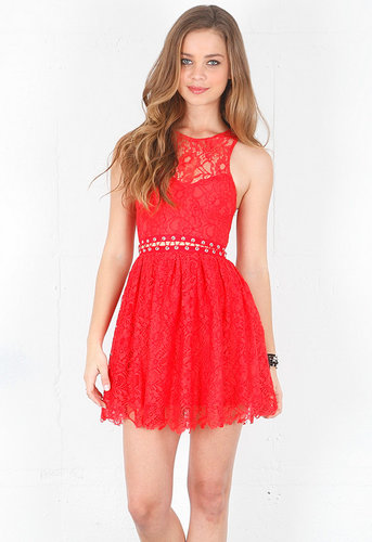 Love Me Do Lace Up Dress in Coral Red - by Style Stalker