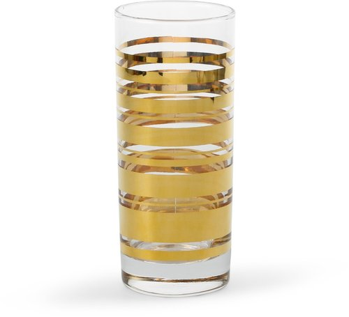 Golden Stripe Highball Glasses (Set of 4)