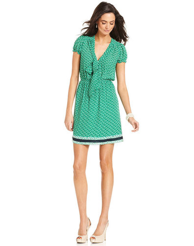 Studio M Dress, Short-Sleeve Printed Tie-Neck