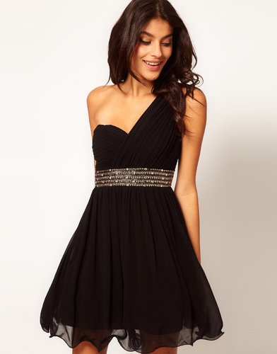 Little Mistress Embellished Waist One Shoulder Dress