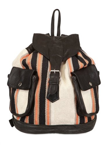 Recycled Fabric And Leather Backpack