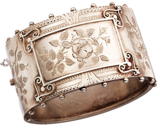 Olivia Collings Antique Jewelry Silver Floral Bangle