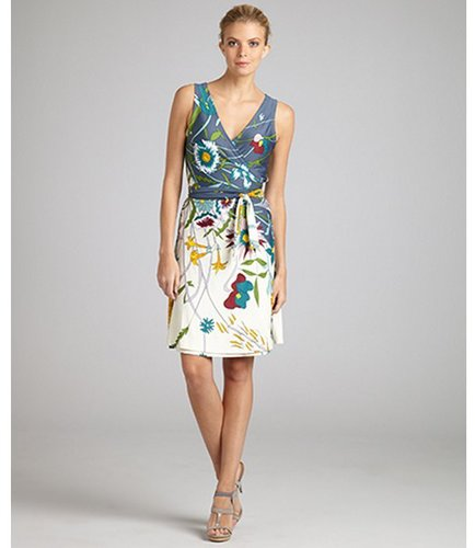 JB by Julie Brown blue wildflower print jersey 'Rica' sleeveless wrap dress