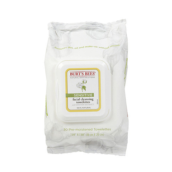 Even the most sensitive skin types will enjoy Burt's Bees Sensitive Facial Cleansing Towelettes ($6). They're formulated with cotton extract to soften skin, rice extract for moisture, and aloe to calm redness.