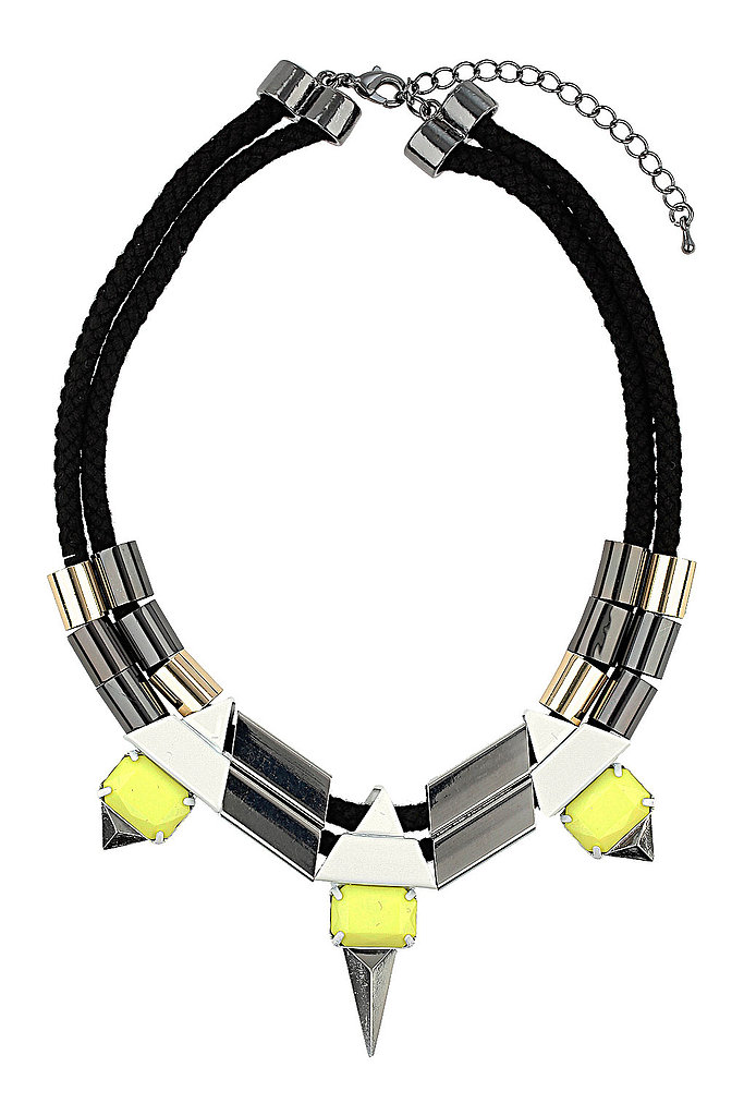 Pair Topshop's cord and spike tube collar necklace ($30) with an asymmetrical white dress and architectural sandals for a modern take on cocktail dressing.