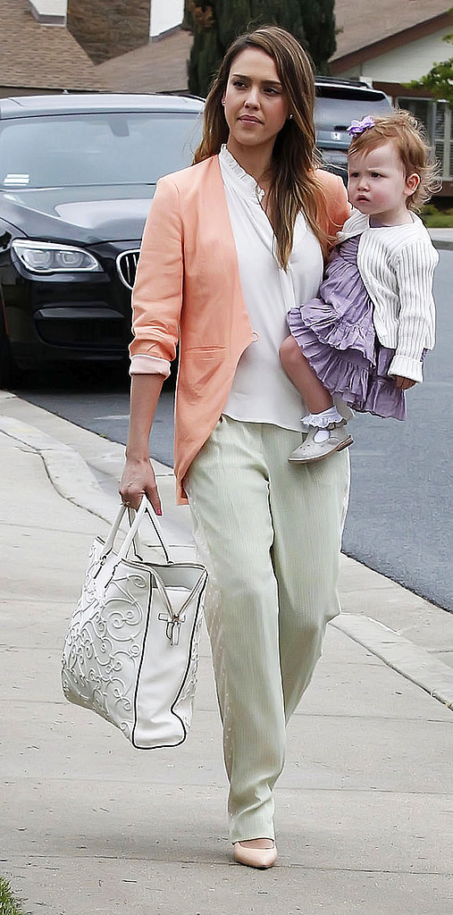 Jessica looked picture-perfect in pastels, a sherbet-colored blazer, and light-green trousers while celebrating Easter with her family in Camarillo, CA.