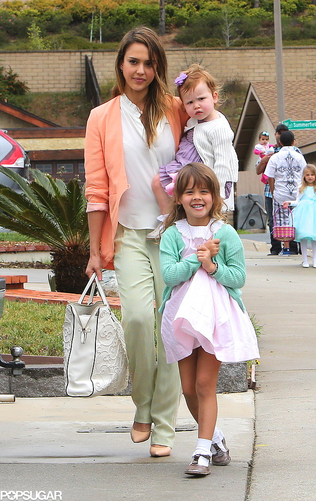 Jessica Alba took her daughters, Honor and Haven, to her mother's house for Easter dinner in Santa Barbara on Sunday.
