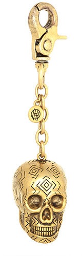 House of Harlow 1960 Jewelry Engraved Skull Keychain