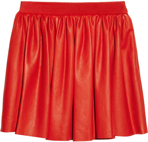Miu Miu Pleated leather mini skirt