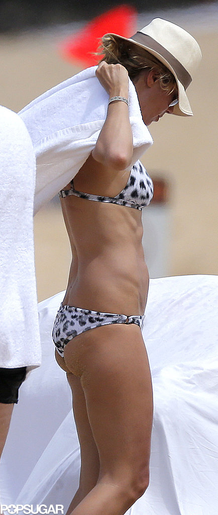 Heidi Klum showed off her fit figure in a printed bikini.