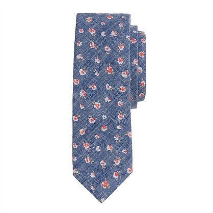 Chambray floral tie