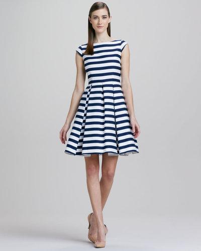 Kate Spade New York Mariella Striped Cap-Sleeve Dress