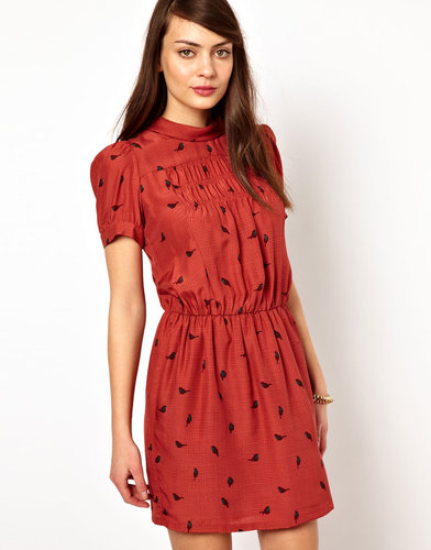 Sessun Dress in Bird Print Silk