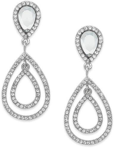 Charter Club Earrings, Silver-Tone Crystal Large Doube Teardrop Earrings