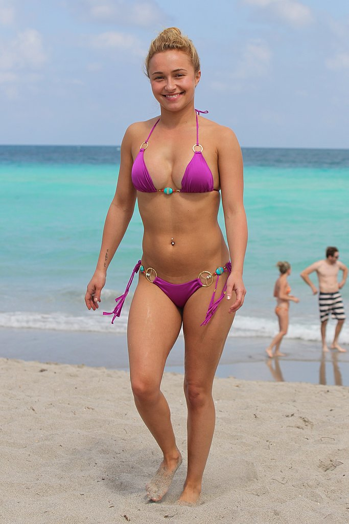 Hayden Panettiere stood out at the beach in Miami in her pink two-piece in April 2013.