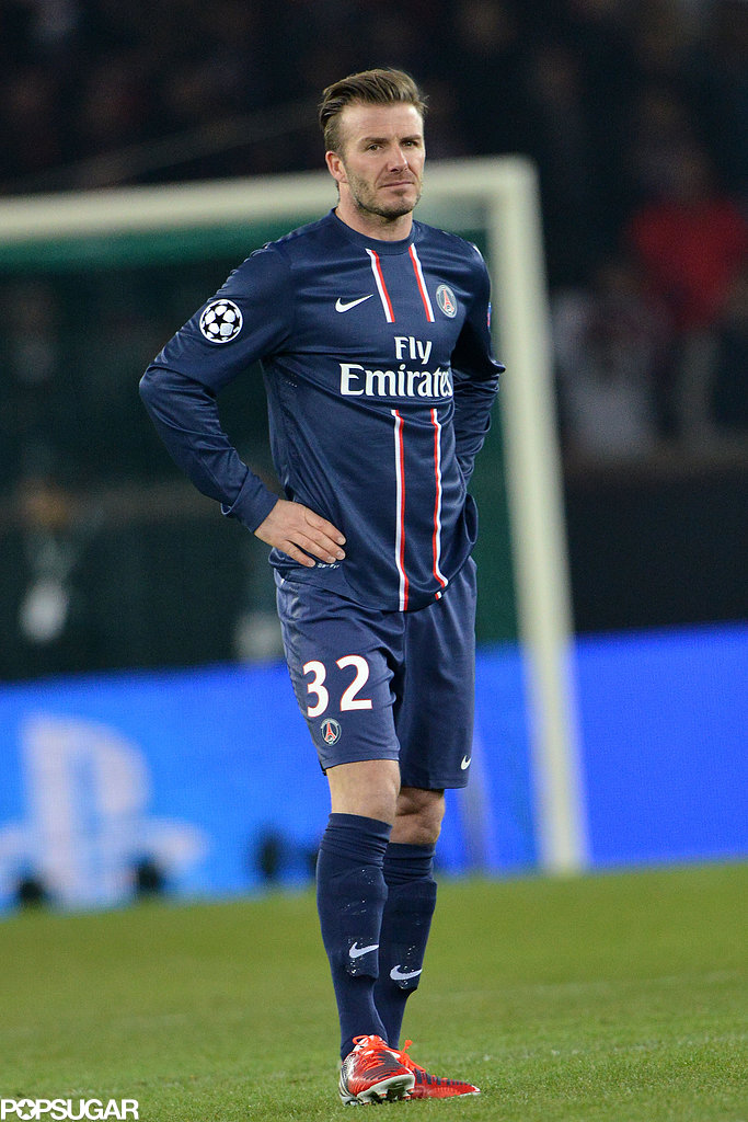 David Beckham hit the field for a start against Barcelona in the championship league game.