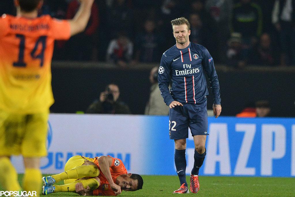 David Beckham got a start in the championship league game against Barcelona.