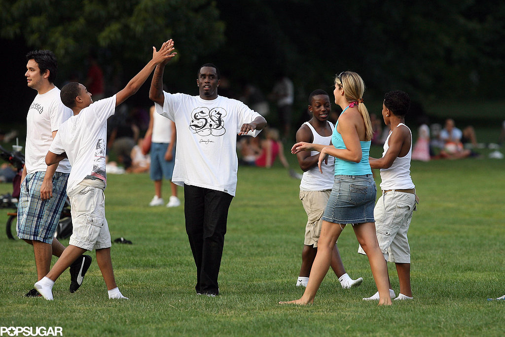 Diddy had a high-fiving family day in July 2008 at Central Park in NYC.