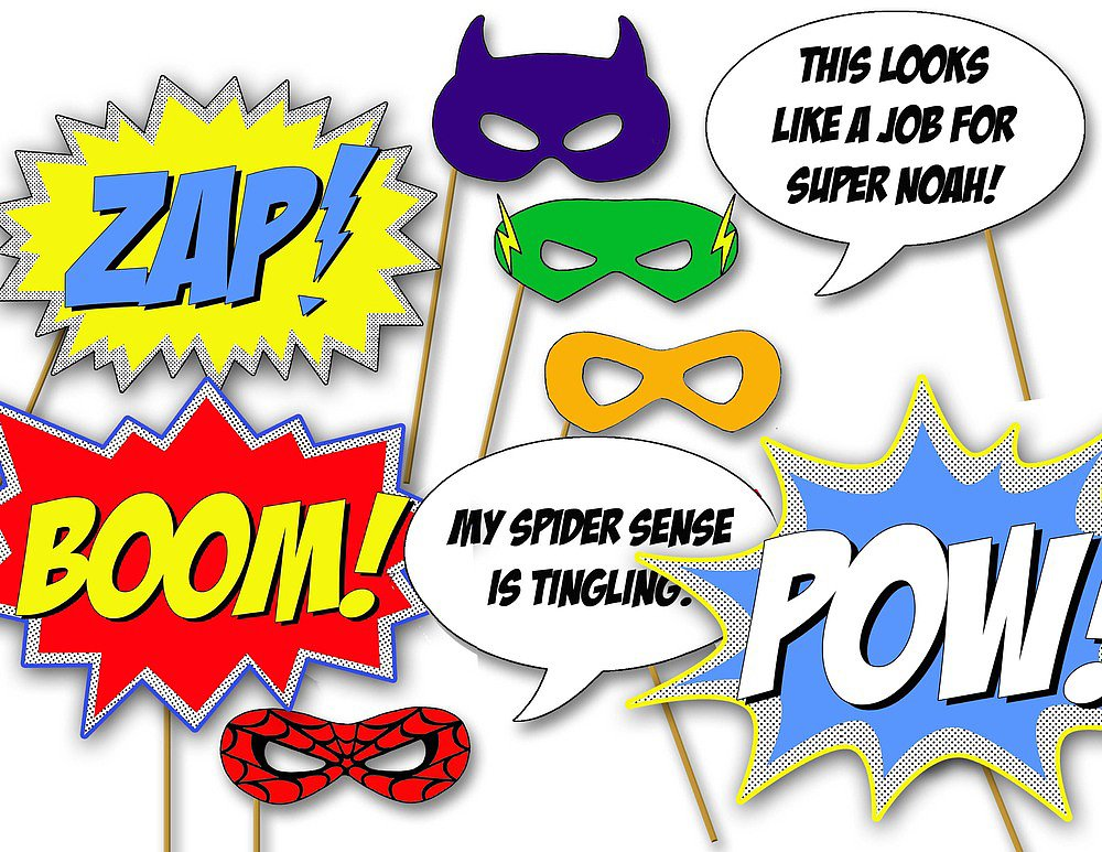 Gutsy image in free printable superhero photo booth props