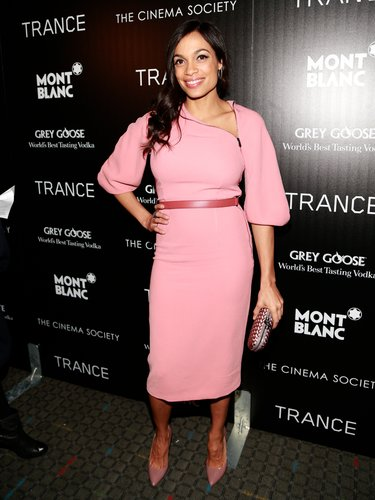 At the Trance premiere in NYC, Rosario Dawson showed off her softer side in a pink Bottega Veneta dress and matching pumps.