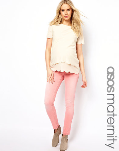 ASOS Maternity Elgin Skinny Jean In Washed Coral