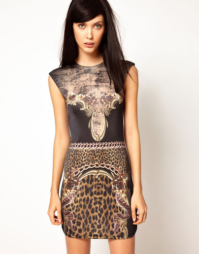 Emma Cook Jade Dress in Baroque Print in Silk Mix Jersey