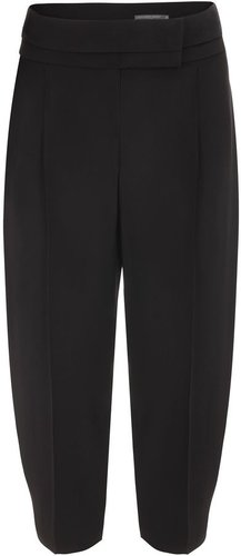Black Crepe Box Pleat Trousers