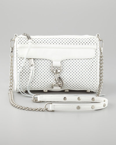 Rebecca Minkoff M.A.C. Perforated Clutch Crossbody Bag, White