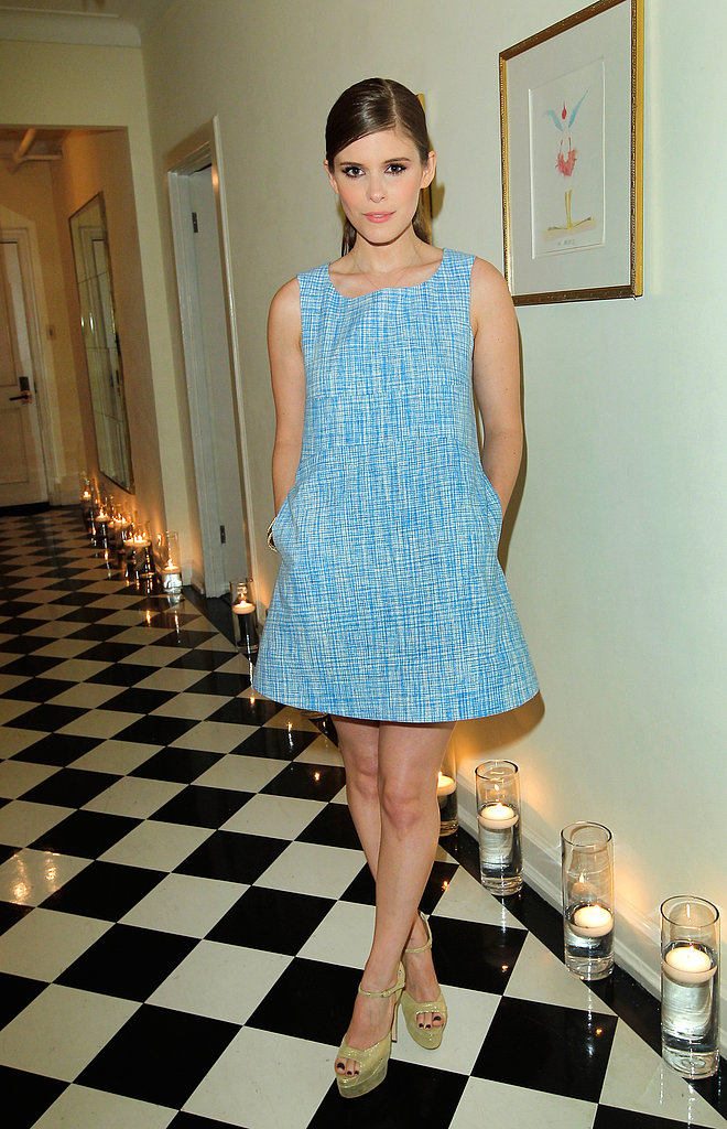 Kate Mara's blue minidress and gold platform sandals reminds us that mod is a fabulous way to go for a bridal shower.