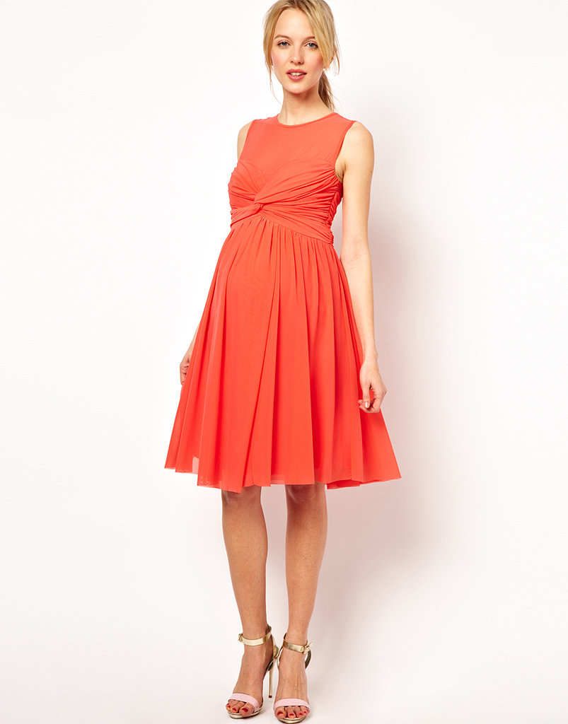 Asos maternity dress in mesh and knot front here comes for Maternity dress for a wedding