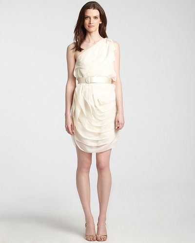 HALSTON HERITAGE One Shoulder Dress - Tiered Ruffle
