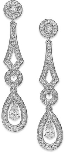 Eliot Danori Earrings, Rhodium-Plated Pave Crystal and Cubic Zirconia Linear Drop Earrings (1 ct. t.w.)