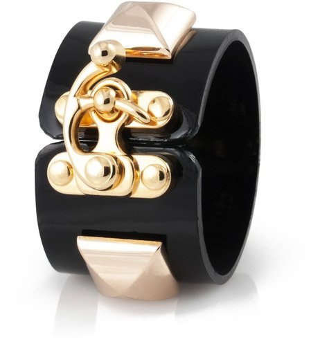 Fallon Jewelry Classique XL Pyramid Latch Cuff | Black Patent