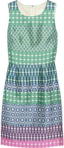 J.Crew Printed wool and silk-blend dress