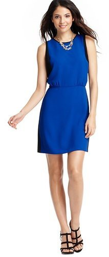 Colorblocked Blouson Crepe Dress
