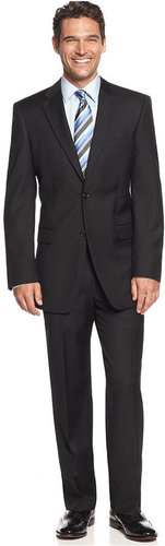 Jones New York Suit, 24/7 Black Solid Herringbone Athletic Fit