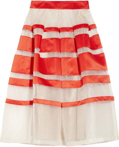 Temperley London Freya striped silk-blend organza and satin midi skirt