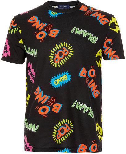 Black Boom Pow Print T-Shirt