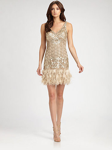 Sue Wong Feather-Trimmed Sequined Dress
