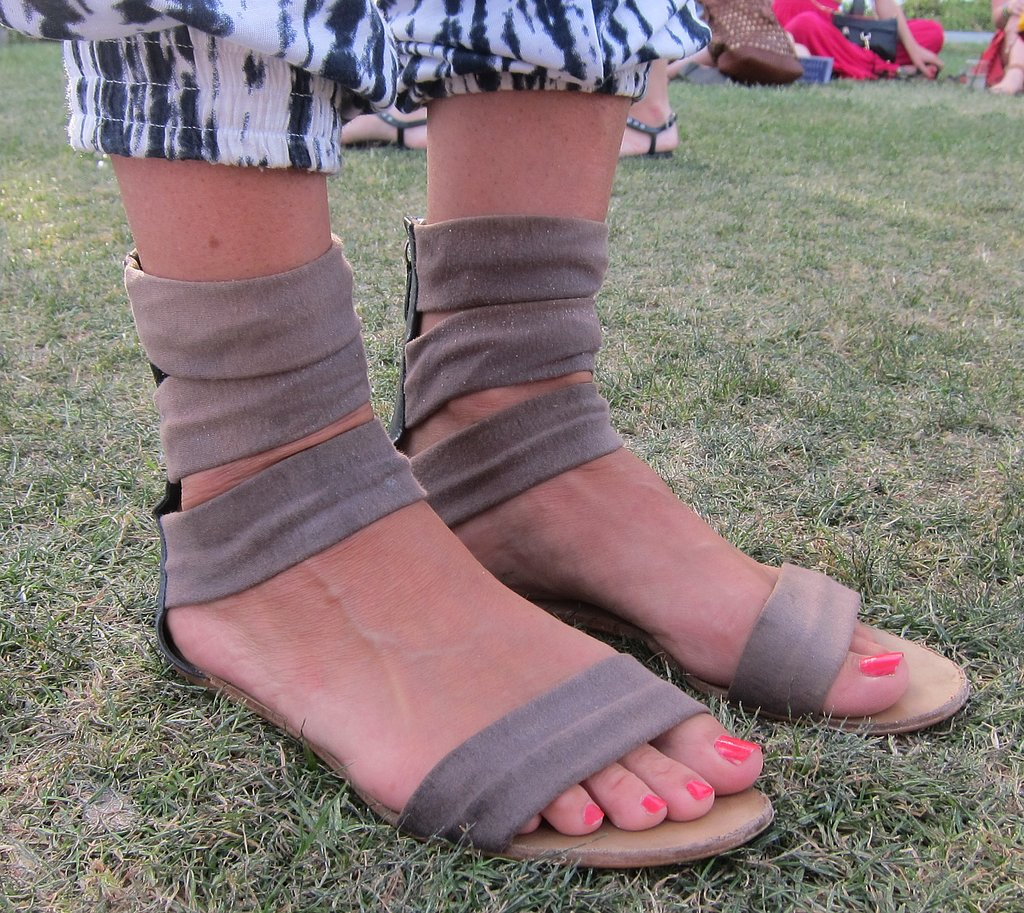 Taupe suede sandals are minimal and chic, but the three ankle bands are a cool touch.