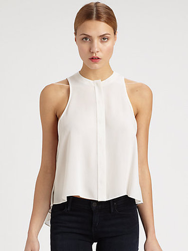 McQ Alexander McQueen Silk Georgette Sleeveless Swing Top